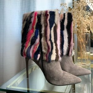 Brian Atwood Rabbit Fur Booties